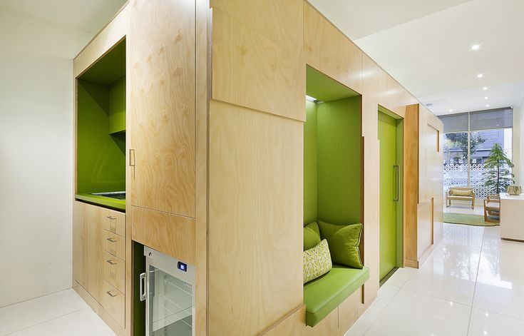 multifunction wooden wall pediatric clinic interior inspiration