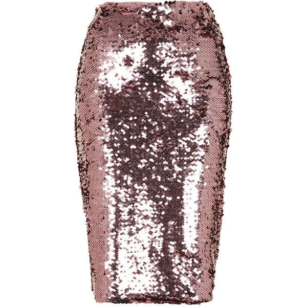 TOPSHOP Pink Sequin Pencil Skirt ($15) ❤ liked on Polyvore featuring skirts, bottoms, topshop, sequin, pink, brown skirt, topshop skirts, pink sequin skirt and pink knee length skirt