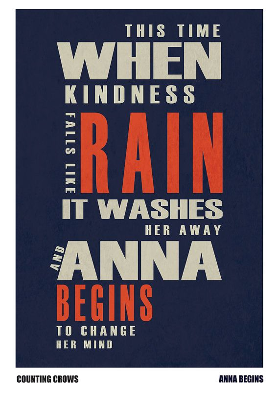 Counting Crows Typographic Lyric Poster 3 x A3 High by WizBitArt
