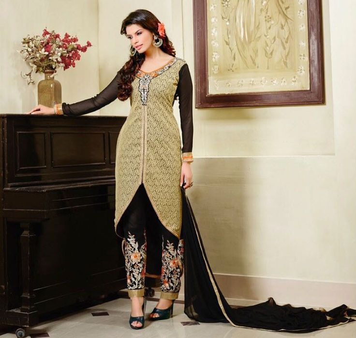Georgette Machine Work Cream Unstitched Pant Style Suit - E38