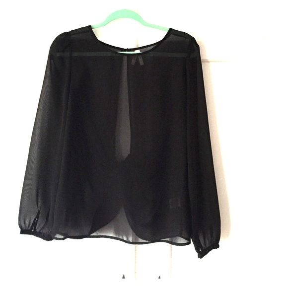 Black See Through Blouse Never Worn!! Sexy see through blouse has a low open back criss cross. Truth Tops Blouses