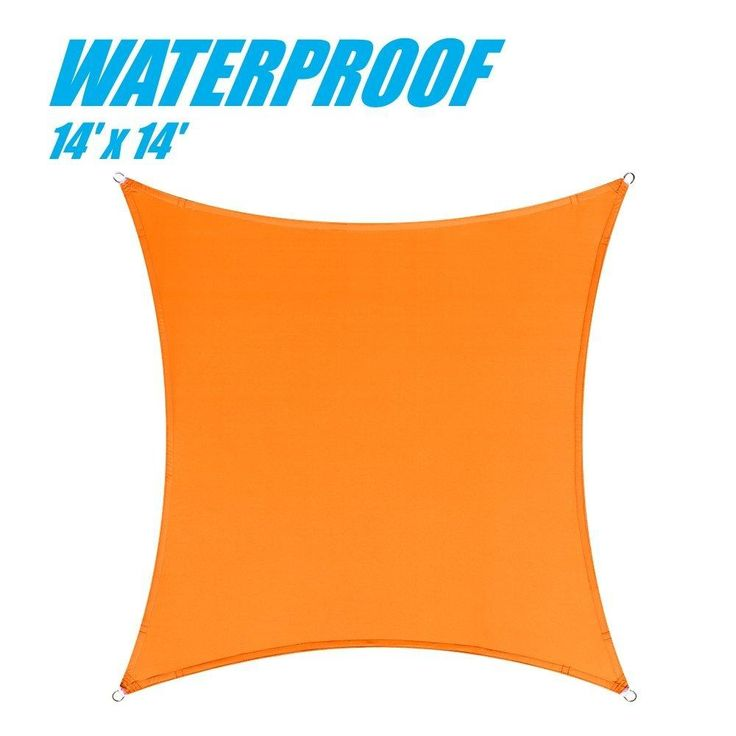 100% BLOCKAGE Waterproof 14' x 14' Sun Shade Sail Canopy Square Orange