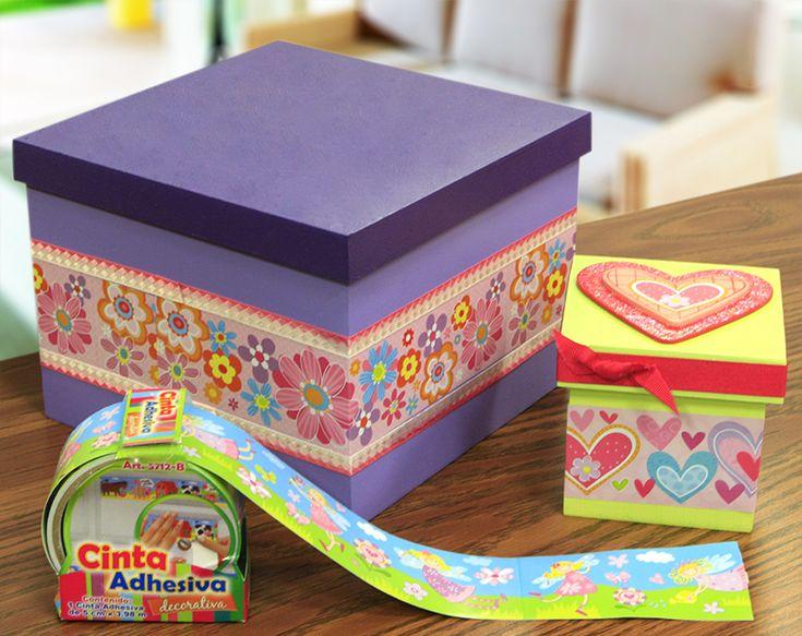 Cajas de madera decoradas con Cinta Adhesiva / Morado / Verde / Decoración para el hogar