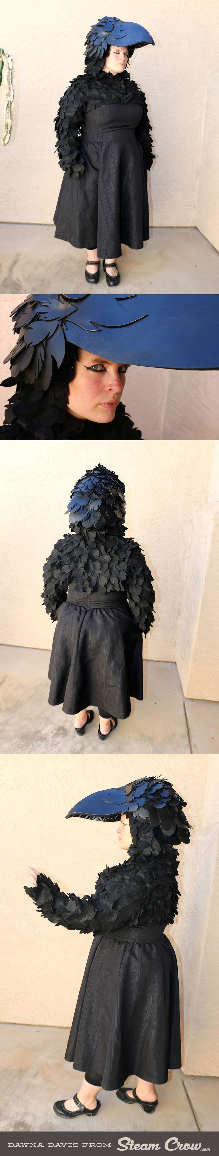 Hand made Crow costume; the jacket is made out of felt, and the headpiece is made from EVA and craft foam. http://www.steamcrow.com