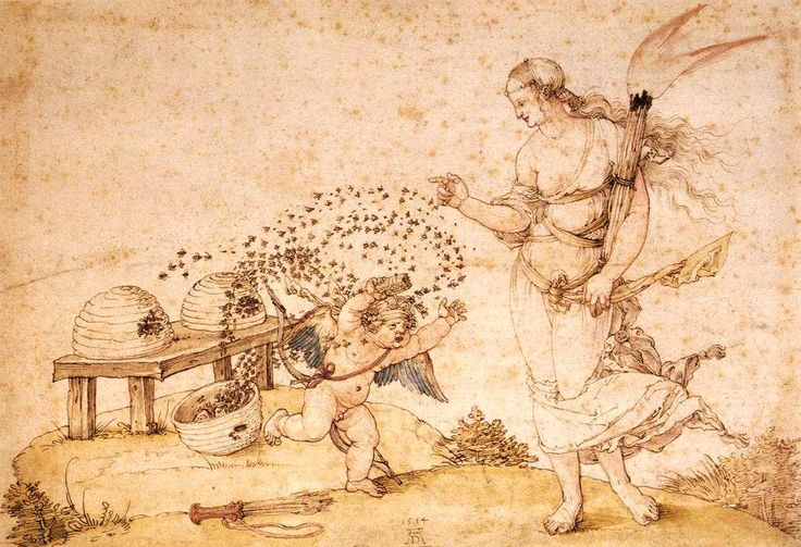 bees in the year 1514 Cupid is in trouble  Cupid the Honey Thief painted by Albr…