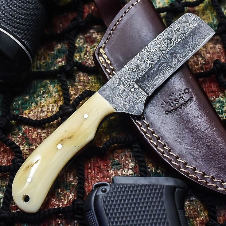 Alonzo knives usa custom handmade damascus tactical hunting knife camel  bone 356