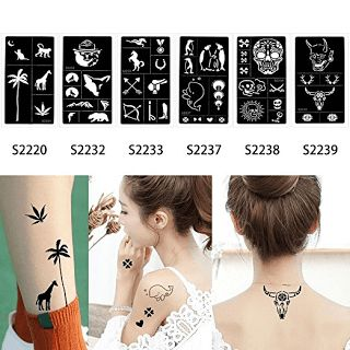 6 Sheets Henna Tattoo Stencil Airbrush Painting Glitter Drawing DIY Body Paint Template