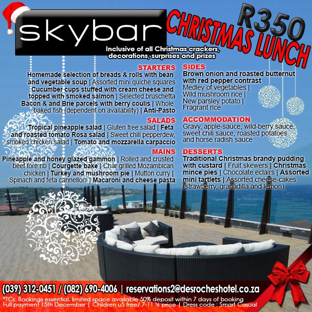 #Christmas #Lunch with a view at #Skybar for only R350pp – More info on our website. Link in bio. #KZNSouthCoast #Margate #Cocktails
