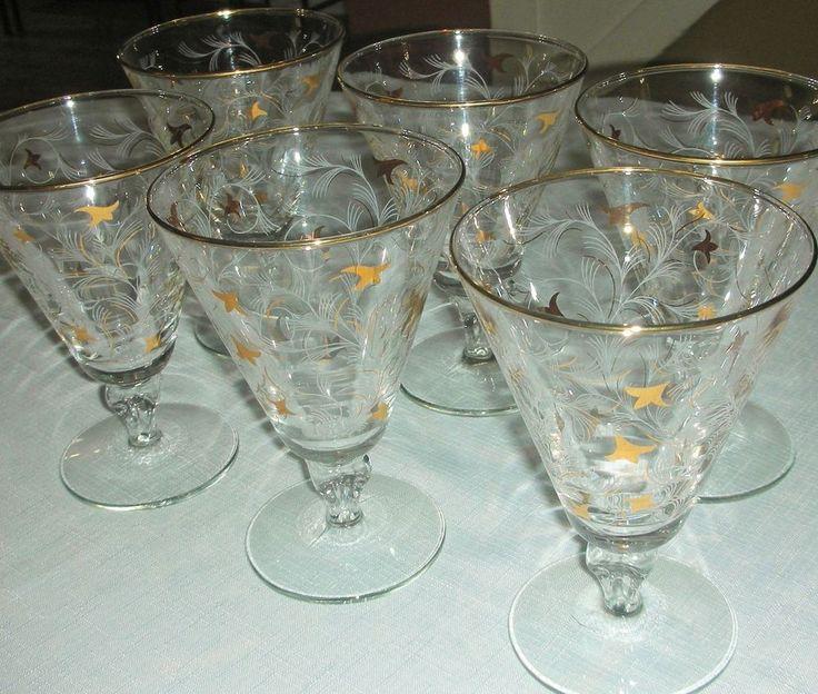 Set of 6 Vintage Libbey Royal Fern Gold & White Short Stem Wine Glasses, Lovely! #VintageLibbey