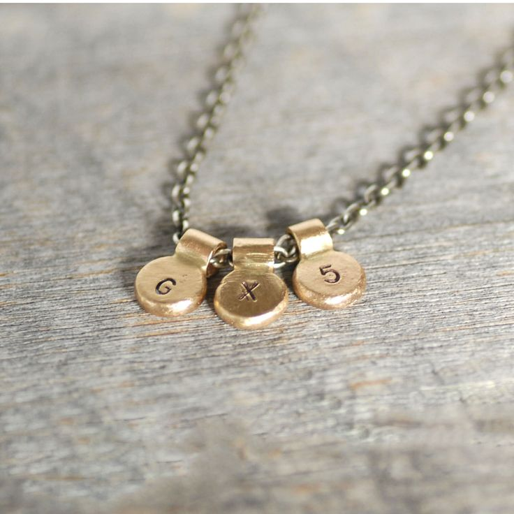 Gold Initial Necklace - Three Initials - 14k Gold and Sterling Silver Initial Necklace - Eco-Friendly Recycled by LilianGinebra on Etsy https://www.etsy.com/listing/217718200/gold-initial-necklace-three-initials-14k