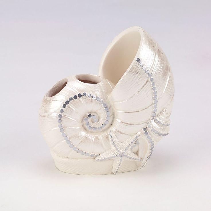 Sequin Shells Toothbrush Holder, White Oth