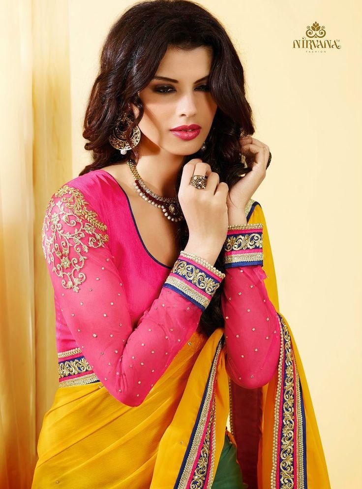Wedding Designer Yellow And Green Saree