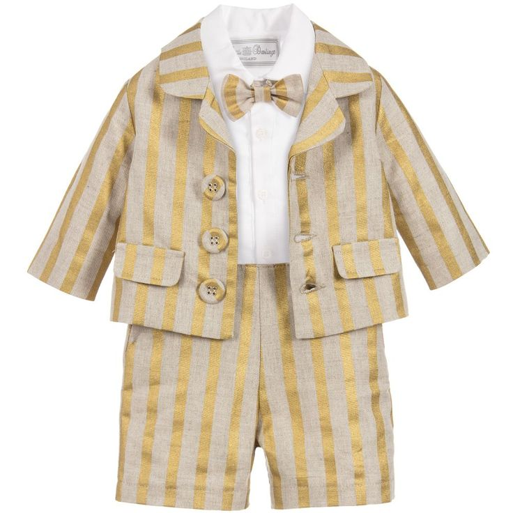 This smart, baby boys beige shorts set striped in gold is by Little Darlings and is a ready-made outfit for a special occasion. Sure to make an impact, it is designed in cool linen and comes with a white dress shirt that has a striped 'bib' and detachable bow tie, secured with velcro.