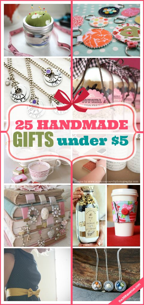 Cadeaux faits à la main sous 5 $!  Ces 25 cadeaux faits à la main sont parfaits pour des cadeaux de Noël, Fête des Mères, et même des cadeaux d'anniversaire.  Ils sont abordables, adorable, et des super idées cadeaux simples que vous pouvez faire!  DOIT re-PIN!
