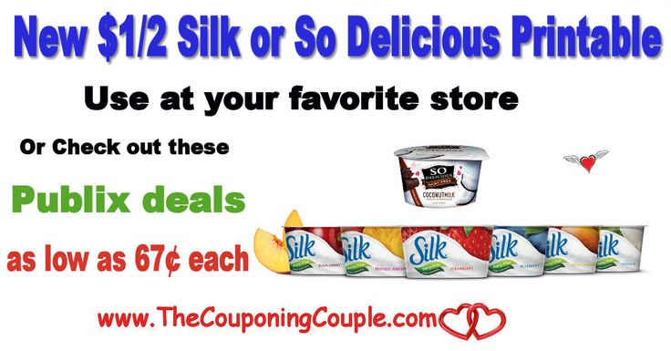 ** New $1.00 off any 2 Silk or So Delicious Printable. PRINT NOW to use at your favorite stores or Check out these Publix Deals as low as 67¢ each! **  Click the link below to get all of the details ► http://www.thecouponingcouple.com/new-1-00-off-any-2-silk-or-so-delicious-printable-plus-publix-deals/ #Coupons #Couponing #CouponCommunity  Visit us at http://www.thecouponingcouple.com for more great posts!