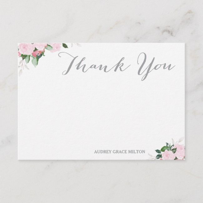 Floral Blooms Thank You Card Zazzle Com With Images Thank