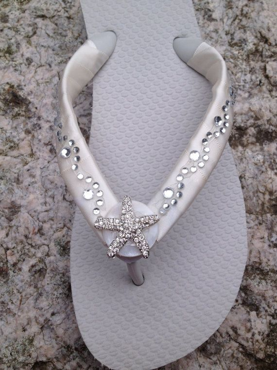 Wedding Flip Flops/Wedges for Brides/Bridesmaids. by RocktheFlops, $39.95