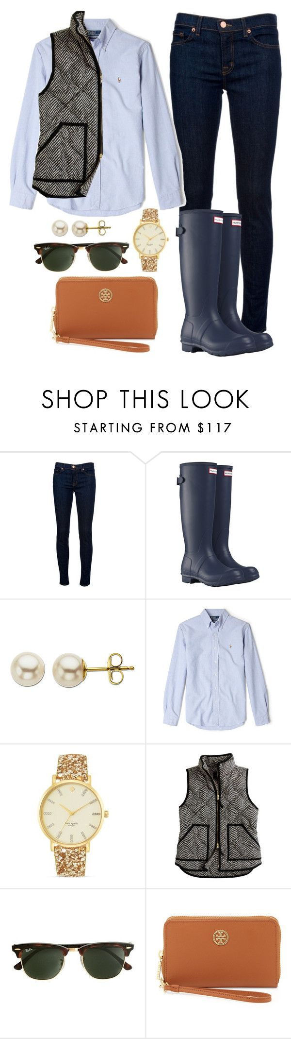 """""""Need Hunter boots!!!"""" by madimcclatchey ❤ liked on Polyvore featuring J Brand, Hunter, Lord & Taylor, Polo Ralph Lauren, Kate Spade, J.Crew and Tory Burch"""