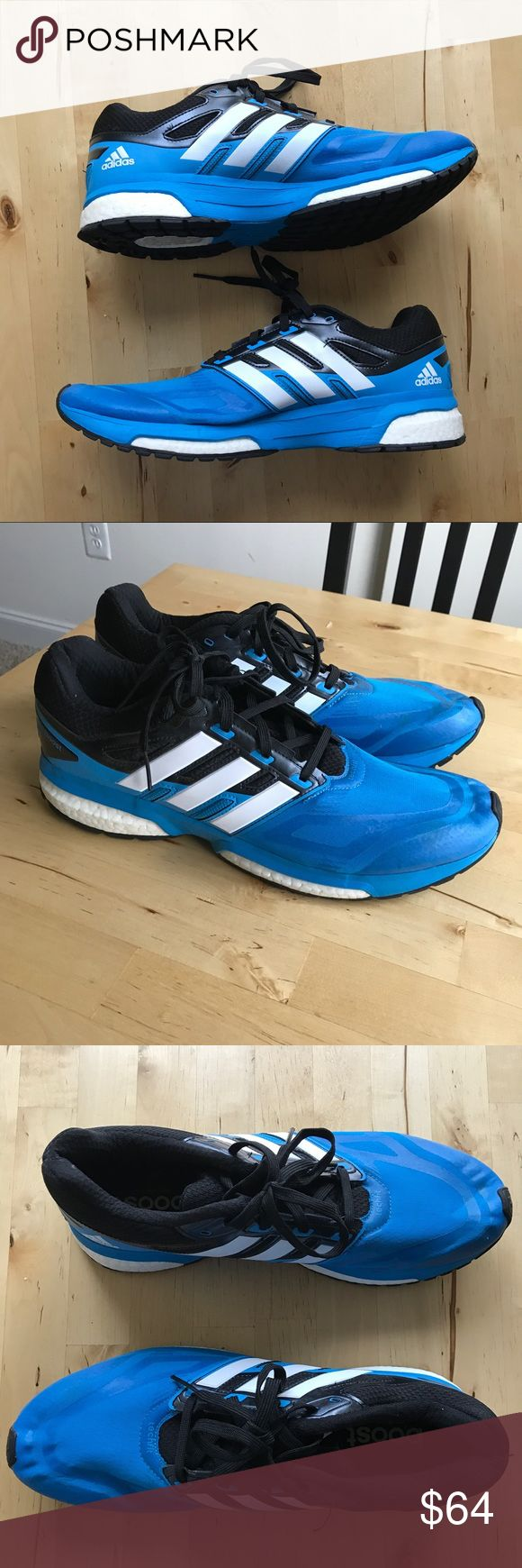 Adidas Running shoes These are great adidas running shoes in aqua blue color. They have only been worn twice so perfect condition. Response Boost model in blue with black and white. adidas Shoes Athletic Shoes