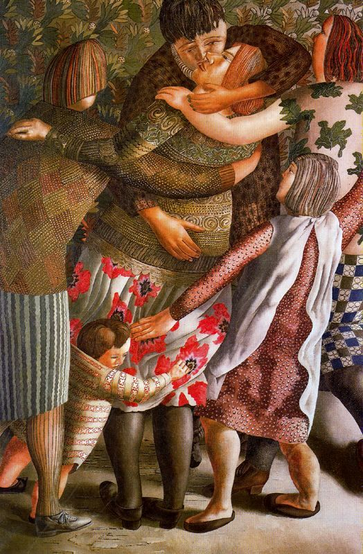 Stanley Spencer, (English painter, 1891-1959) Hilda Welcomed 1953  It's About Time: At Home with Stanley Spencer 1891-1959 .... Usually lives in the Art Gallery of South Australia .... One of my favourites for years. LT