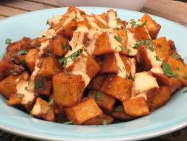 Patatas Bravas--Spanish-style home fries with roasted spicy tomato sauce.  What a great recipe!  And the sauce goes really well with other things, too, like pasta (I tried it this weekend!).