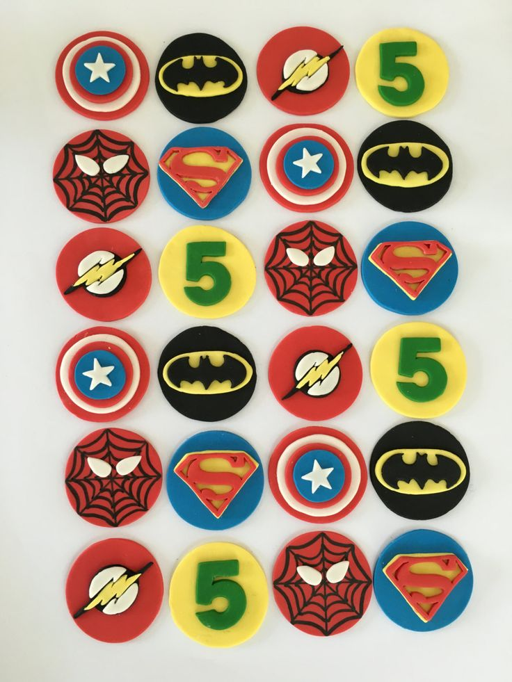 Set of 24 Superhero Cupcake Toppers by SugaryLand on Etsy