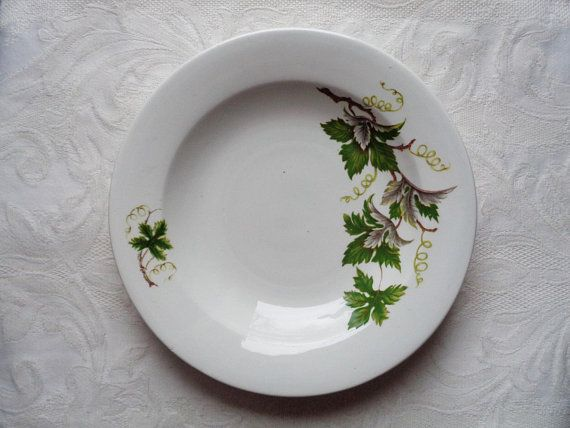"""Ditmar Urbach Z (Znojmo) Vintage Plate with Grapevine Pattern; 8.5""""/ 22cm Soup Plate with Grape Leaves made in Czechoslovakia"""