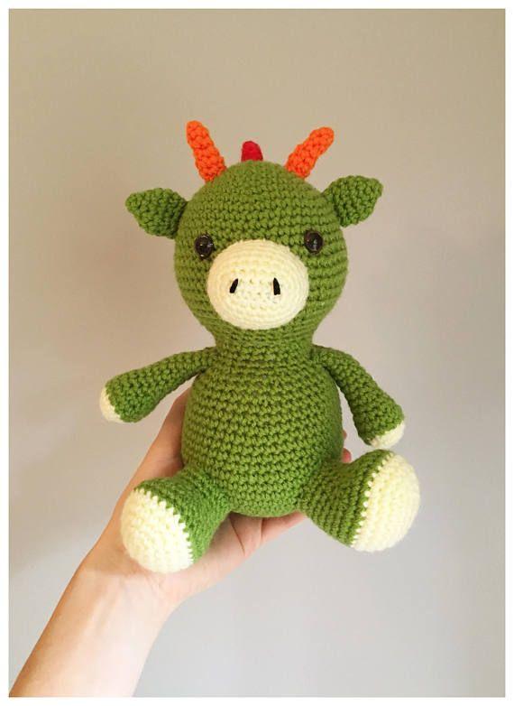 Green Dragon Crochet Amigurumi Soft Toy Nursery Decor