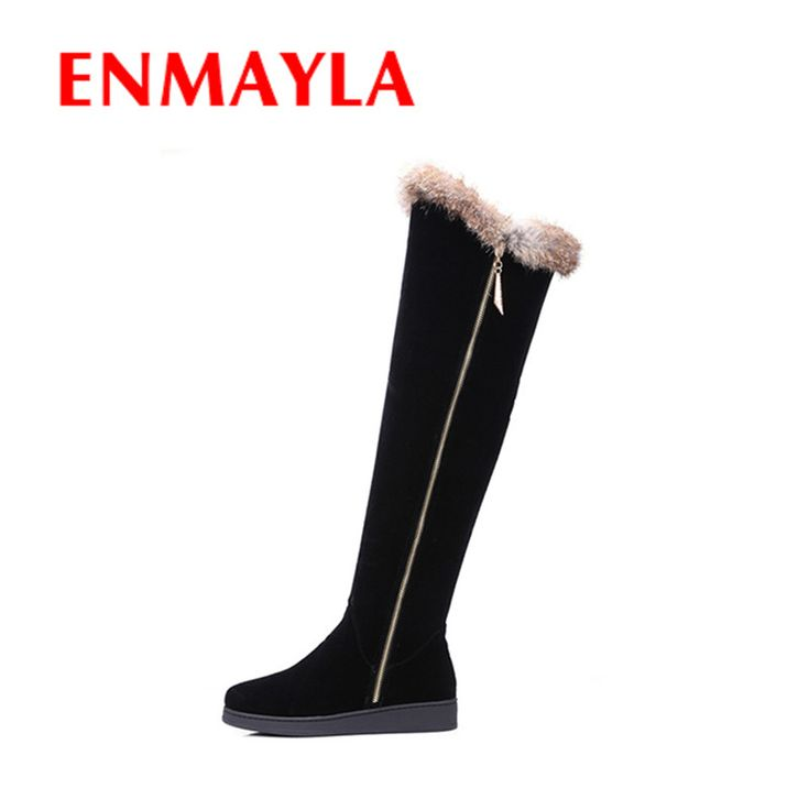 Find More Women's Boots Information about ENMAYLA Winter Warm Long Boots Shoes Woman Round Toe Zippers Over the knee Boots for Women Large Size 34 43 Black Western Boots,High Quality shoe department boots,China boots shoes women Suppliers, Cheap shoes boots kids from YQZ on Aliexpress.com