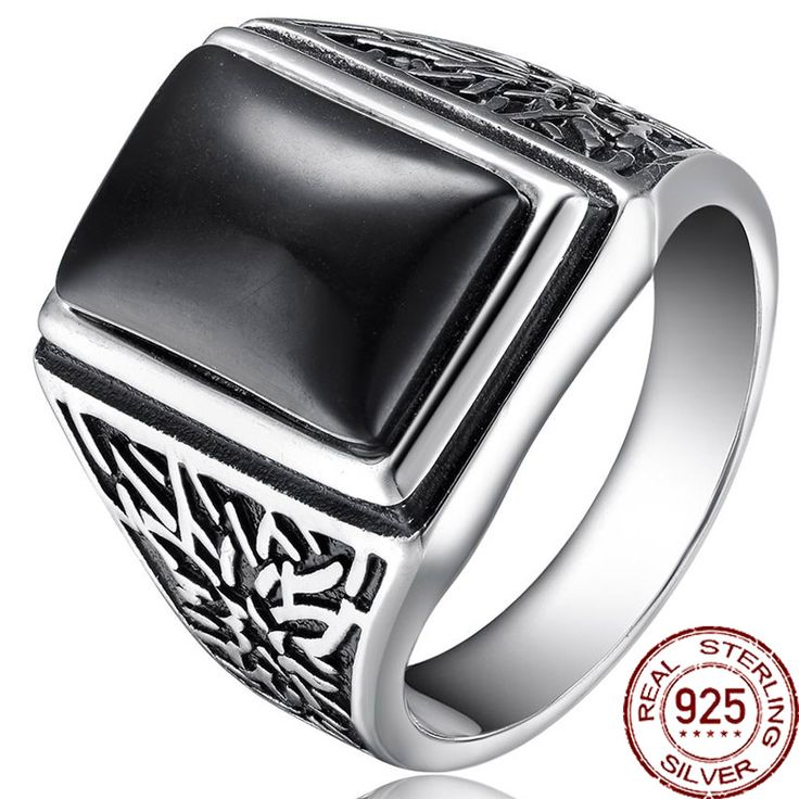 Retro Black Natural Stone Real 925 Sterling Thai Silver Metal Europe Rings Men/Male Wedding Bridal Fine Jewelry Antique Designer