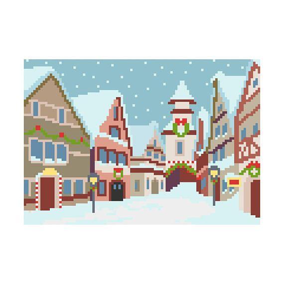 PDF schema punto croce paesaggio invernale  cross stitch