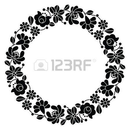 Kalocsai bordado negro en el c�rculo - patr�n floral popular h�ngaro photo