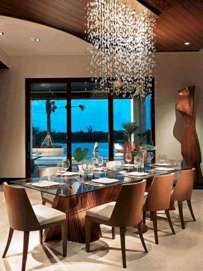 35 Amazing Dining Room Lighting Ideas For Big Family Decorhit Com Desain Ruang Makan Interior Coffee Table