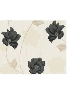 Råhvid tapet med sorte og beige blomster - Køb tapet med sorte og beige blomster