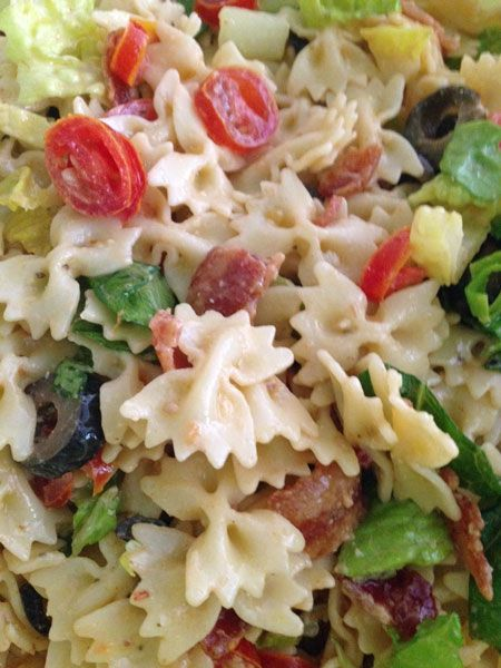 Easy Caesar BLT Pasta Salad. Great dish on a buffet table. Pinner: This pasta salad is now my family's new favorite. Quick easy and delicious!