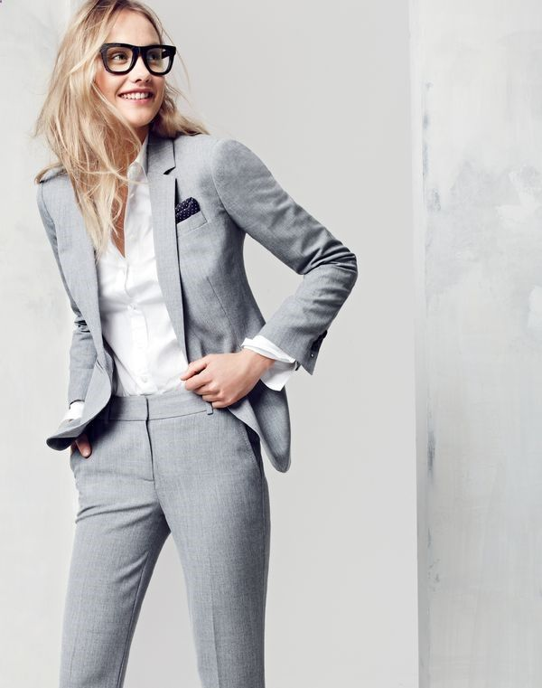 J.Crew women's Campbell Traveler blazer, Campbell Traveler trouser, stretch perfect shirt, J.Crew men's Italian silk pocket square in mini dot and Super™ Ciccio eyeglasses.