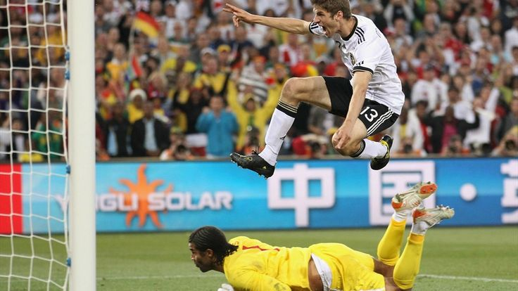 BLOEMFONTEIN, SOUTH AFRICA - JUNE 27: Thomas Mueller of Germany celebrates scoring his teams fourth past goal David James of England during the 2010 FIFA World Cup South Africa Round of Sixteen match between Germany and England at Free State Stadium on June 27, 2010 in Bloemfontein, South Africa. (Photo by Joern Pollex/Getty Images)
