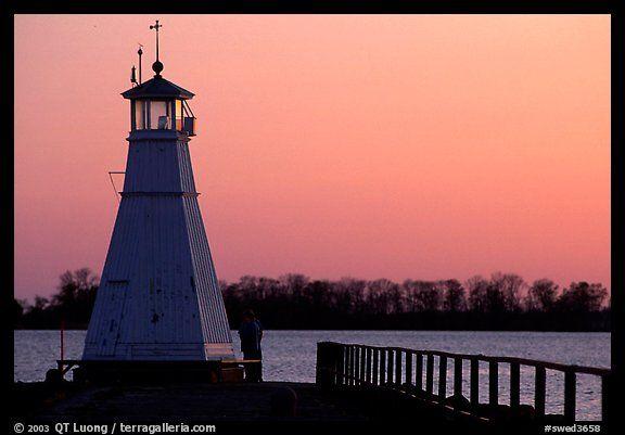 Lighthouse on Vattern Lake, Vadstena. Gotaland, Sweden