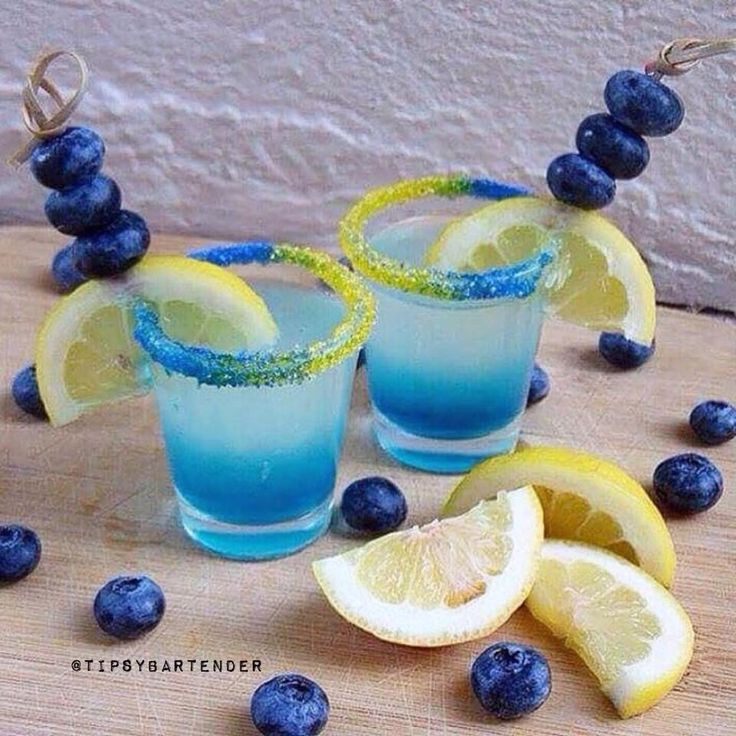 Blueberry Lemon Drop Shot - For more delicious recipes and drinks, visit us here: www.tipsybartender.com