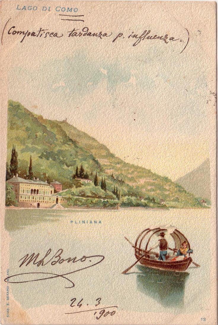 Old postcard of Villa Pliniana | Torno #lakecomoville