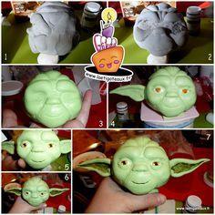 How to make a Yoda Cake 3D Gateau Yoda en 3D tutoriel Part.2