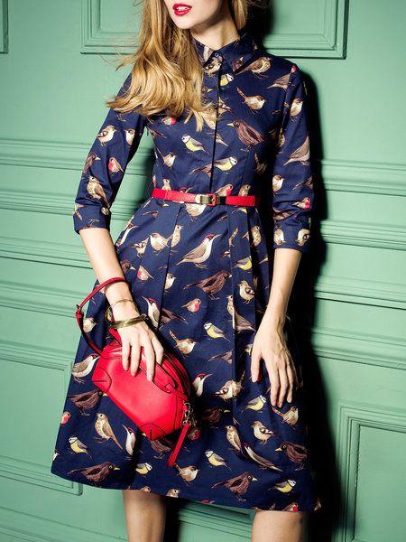 Shop Midi Dresses - Bird Printed Cotton Midi Dress with Belt online. Discover unique designers fashion at StyleWe.com.