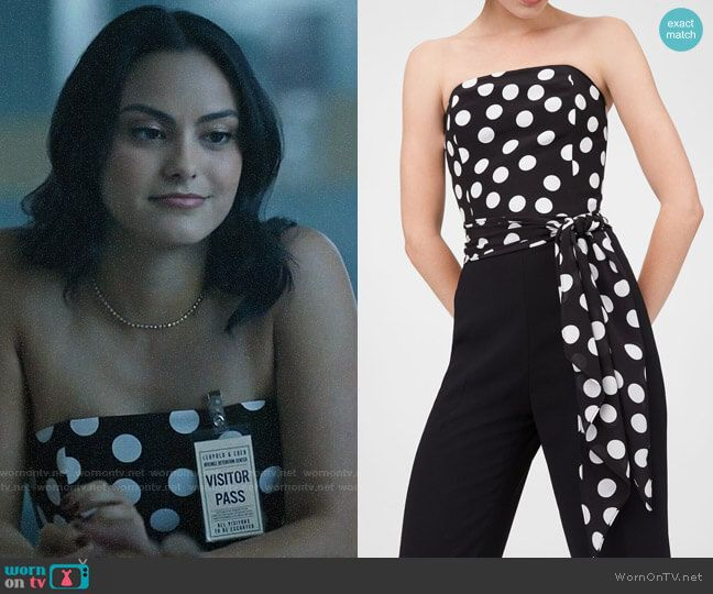 2198764824fb Veronica's strapless polka dot top on Riverdale. Outfit Details:  https://wornontv