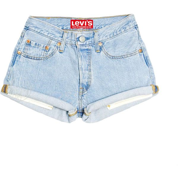 Levi's Shorts High Waisted Cuffed Denim Shorts Sizes Us 0 20 Womens ($30) ❤ liked on Polyvore featuring shorts, light blue, women's clothing, high-waisted shorts, destroyed jean shorts, zipper pocket shorts, ripped jean shorts and cotton shorts