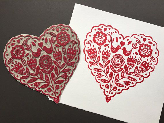 Original Linocut Print Folk Art Heart With Birds in Magenta Red by Claire McKay