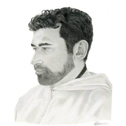 Fr Mannes: Black and white pencil portrait.