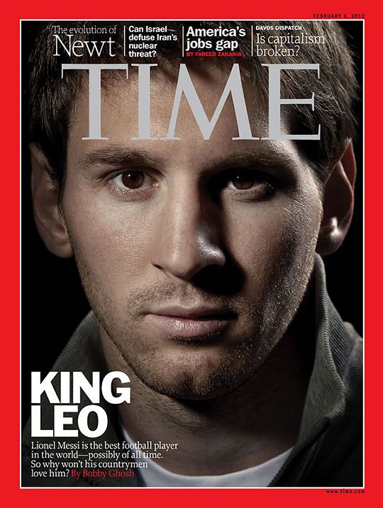 Messi! Still not sure why the US version of Time magazine didn't have this cover. No love for soccer or his skill!