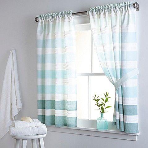 Dkny Highline Stripe 38 Inch X 45 Inch Cotton Bath Window Curtain Panel Pair In Aqua Bathroom Window Curtains Short Window Curtains Striped Shower Curtains