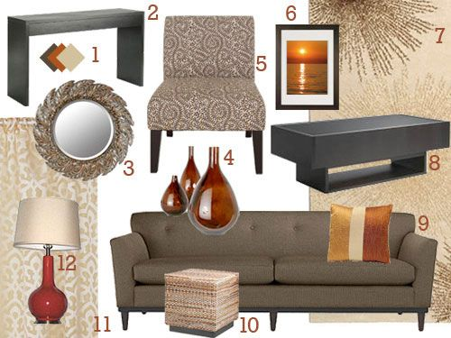 When Ben And Courtney Cam To Us For Decorating Advice, We Whipped Up A  Modern Custom Mood Board. Deep BrownColors For Living ... Part 74