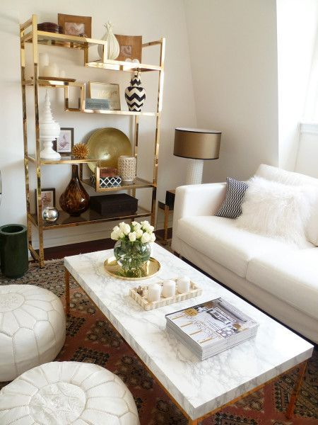 White Marble Coffee Table With Brass Legs | Preciously Me Blog : A Home Tour